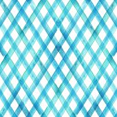 Watercolor Stripe Plaid Seamless Pattern. Turquoise Teal Blue Stripes Background. Watercolour Hand D poster