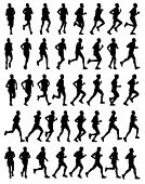 40 high quality male marathon runners silhouettes