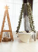 Decorated Wooden Staircase And Hammock With Fir Branches For Christmas Holiday poster
