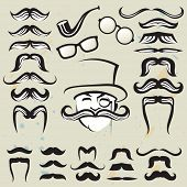 retro set of mustaches and other accessories