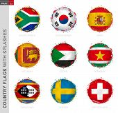 Flag Collection, Round Grunge Flag With Splashes. 9 Vector Flags: South Africa, South Korea, Spain,  poster