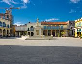 The Old Square, in spanish known as Plaza Vieja, a touristic landmark famous for its colonial architecture in Old Havana