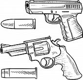 Detailed handgun sketches