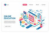 Online Education Landing Page Vector Template. Internet School, College Website Homepage Ui Layout W poster