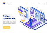 Online Recruitment Landing Page Vector Template. Employment Agency Website Homepage Interface Layout poster