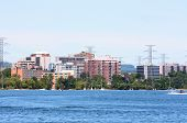 image of burlington  - Landscape picture of shoreline of front of Burlington Ontario where the town fronts the Lake Ontario - JPG