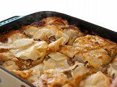 Colorful lasagna close up