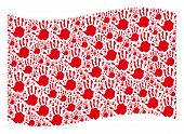 Waving Red Flag Collage. Vector Hand Print Pictograms Are Grouped Into Mosaic Red Waving Flag Collag poster