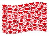 Waving Red Flag Collage. Vector Graduation Cap Icons Are Grouped Into Mosaic Red Waving Flag Collage poster
