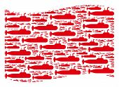 Waving Red Flag Collage. Vector Military Submarine Elements Are Combined Into Conceptual Red Waving  poster