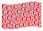 Waving Red Flag Collage. Vector Euro Symbol Elements Are Combined Into Conceptual Red Waving Flag Co poster