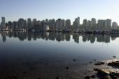 View Of Coal Harbor From Stanley Park In Vancouver British Columbia