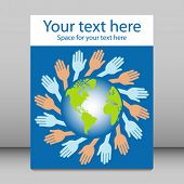 World hands leaflet or flier design.