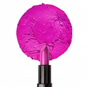Blank Lipstick Swatch With Purple Lipstick Isolated On A White Background poster