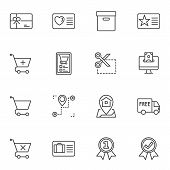 E-commerce Line Icons Set. Linear Style Symbols Collection, Outline Signs Pack. Vector Graphics. Set poster