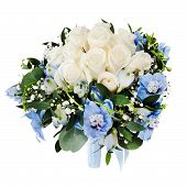 Floral Wedding Bouquet From White Roses And Delphinium Isolated On White Background.