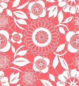 Pink and white floral crochet lacy seamless pattern, vector