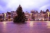AMSTERDAM, THE NETHERLANDS DECEMBER 25: Christmas in Amsterdam on the famous Nieuwmarkt with enlight