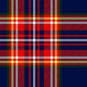 Tartan traditional checkered british fabric seamless pattern, blue and red, vector