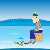Pesca en el río de invierno