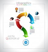 Infographic design - original paper geometric shape with shadows. Ideal for statistic data display o