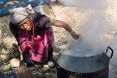 Woman Lahu Tribe Is Cooking