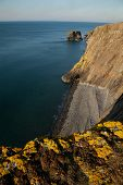 stock photo of shale  - Yellow lichen covered rock on shale cliffs looking out towards a pebble beach and sea cliffs with the sea stack Trwyn y Tal in the distance. Wales coast path Trefor Lleyn peninsular Wales UK. ** Note: Shallow depth of field - JPG