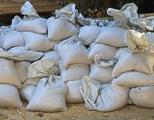 picture of sandbag  - Big pile of sandbags for floods emergency - JPG