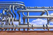 A lot of pipes  on a background sky