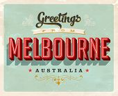 Vintage Touristic Greeting Card - Melbourne, Australia - Vector EPS10. Grunge effects can be easily removed for a brand new, clean sign.
