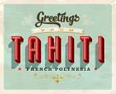 stock photo of french polynesia  - Vintage Touristic Greeting Card  - JPG