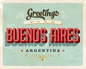 Tarjeta de felicitación turístico Vintage - Buenos Aires, Argentina - Vector EPS10. Efectos Grunge pueden ser easi