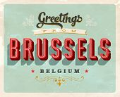 Vintage Touristic Greeting Card - Brussels, Belgium - Vector EPS10. Grunge effects can be easily rem