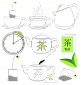 Vector. Tea making sign set.