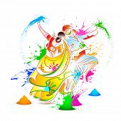 stock photo of radha  - illustration of couple playing Holi with color - JPG