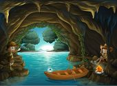 image of cave woman  - Illustration of a young girl and boy inside the cave - JPG