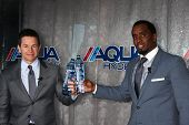 LOS ANGELES - FEB 26:  Mark Wahlberg, Sean Combs at the Aqua Hydrate Press Conference at the Private