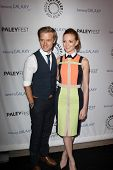 LOS ANGELES - FEB 27:  Adam Campbell, Jayma Mays arrive at the PaleyFest Icon Award 2013 at the Pale