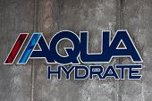 LOS ANGELES - FEB 26:  Aqua Hydrate symbol at the Aqua Hydrate Press Conference at the Private Locat