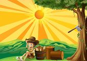 stock photo of boy scout  - Illustration of a sunset view with a boy scout - JPG