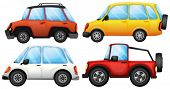 Illustration of four cars with different styles on a white background