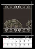 stock photo of wombat  - A calender based on aboriginal style of dot painting depicting wombat  - JPG