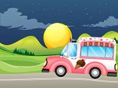 picture of ice-cream truck  - Illustration of a pink icecream bus - JPG