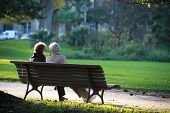 Two senior sat on a bench