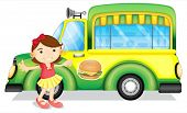 stock photo of ice-cream truck  - Illustration of a girl beside a green burger truck on a white background - JPG