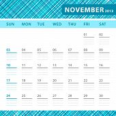 November 2013 Planning Callendar With Space For Notes. Checked Blue Texture In Background.