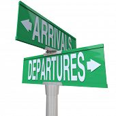 Two-way street or road signs with the words Arrivals and Departures to symbolize coming and going in ground or air transportation
