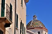 pic of michel  - Dome of the church of San Michele symbol of the of Alghero Sardinia Italy - JPG