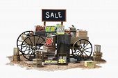 foto of peddlers  - Sale of various product items on a wagon in Old Western style - JPG