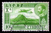 Emperor Haile Selassie And Plane Douglas Dc-3 Over Zoquala Volcano